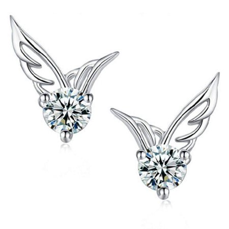 CLEARANCE - Tiny Wings Austrian Crystal Stud Earrings White Gold ()