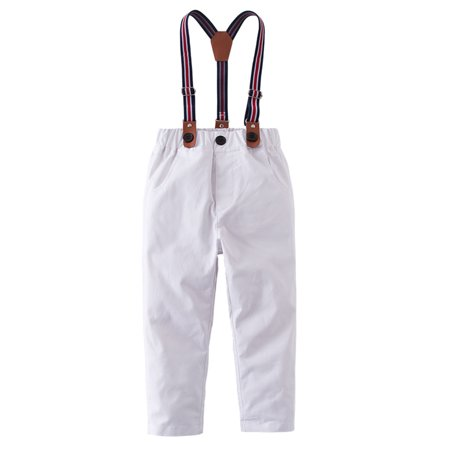 StylesILove Toddler Little Boy Classic Chino Pants with Suspenders (White, 100/3-4 Years)