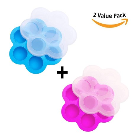 [2 Pack] Silicone Egg Bites Molds For Instant Pot Silicone Accessories Molds - Fits Instapot 5, 6, 8 Quart Pressure Cooker, Freezer Accessory, Sous Vide Egg Poacher Ring