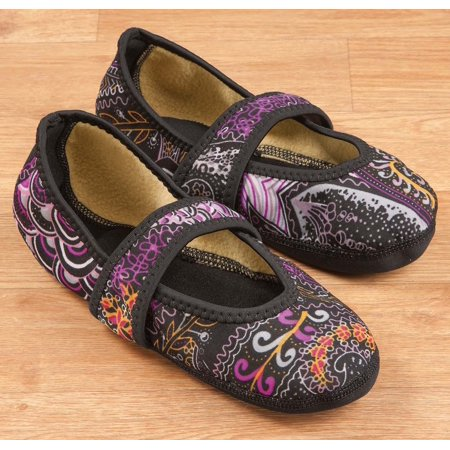 nufoot betsy lou fuzzies women's shoes, best foldable & flexible flats, slipper socks, travel slippers & exercise shoes, dance shoes, yoga socks, house shoes, indoor slippers, paisley, x
