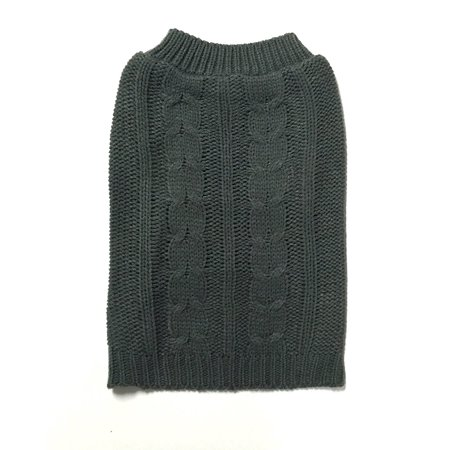 X-Large Gray Cable Knit Dog Sweater by Midlee