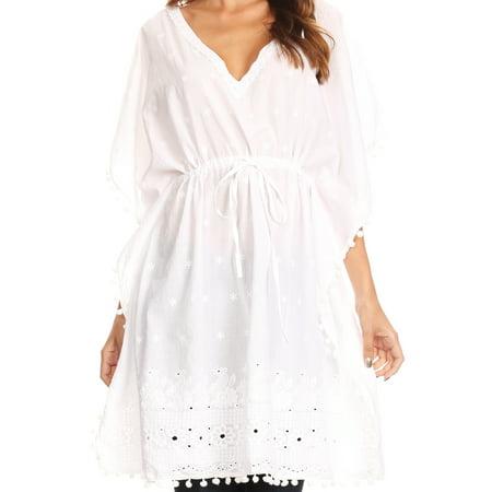 Sakkas Amelia Embroidered Eyelet V-Neck Caftan Cover Up with Drawstring Waist - White - One Size Regular