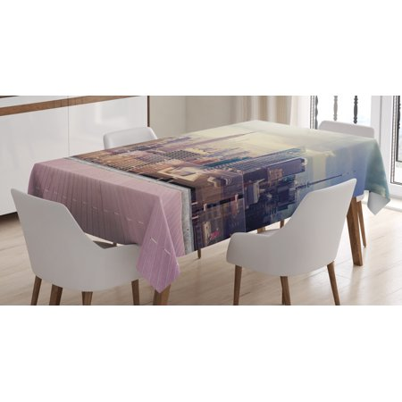 Modern Decor Tablecloth, New York City Usa Landscape from Roof Apartment Balcony Photo Image, Rectangular Table Cover for Dining Room Kitchen, 60 X 90 Inches, Grey White and Pink, by Ambesonne ()