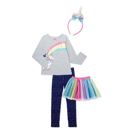 Minnie Mouse Baby Toddler Girl Unicorn Long Sleeve Top, Tutu Skirt, Leggings & Headband, 4pc outfit set