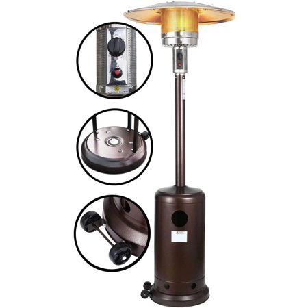 Moonstar Standing Patio Heater - Propane Outdoor Heater 48000BTU, Outdoor Patio Heater with Overheat Protection, with Wheels for Restaurants, Gardens and Commercial Use