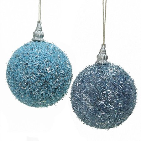 Pack of 4 Light Blue Beaded Silver Tinsel Confetti Christmas Ball Ornaments 3