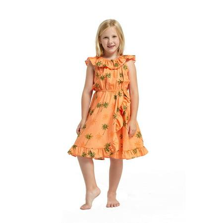 Made in Hawaii Luau Wrap Ruffle Dress in Green Palms in Orange 4 - Luau Items