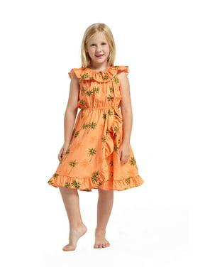 b14448aa52936 Product Image Made in Hawaii Luau Wrap Ruffle Dress in Green Palms in  Orange 4
