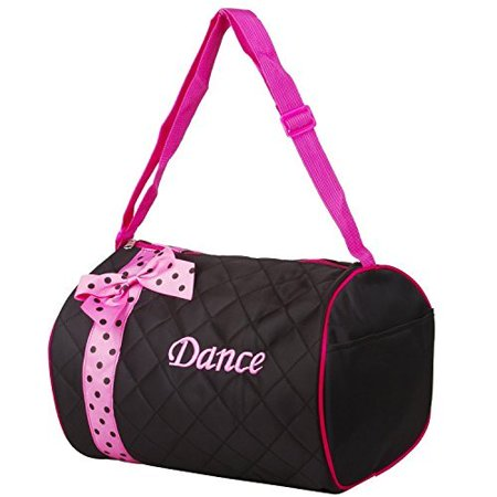 Girls Dance Duffle Bag Kids Quilted Ribbon Polka Dots Black Totes