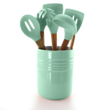 Gibson Town Market Square 5 Piece Kitchen Tools with Ceramic Crock in Mint ()