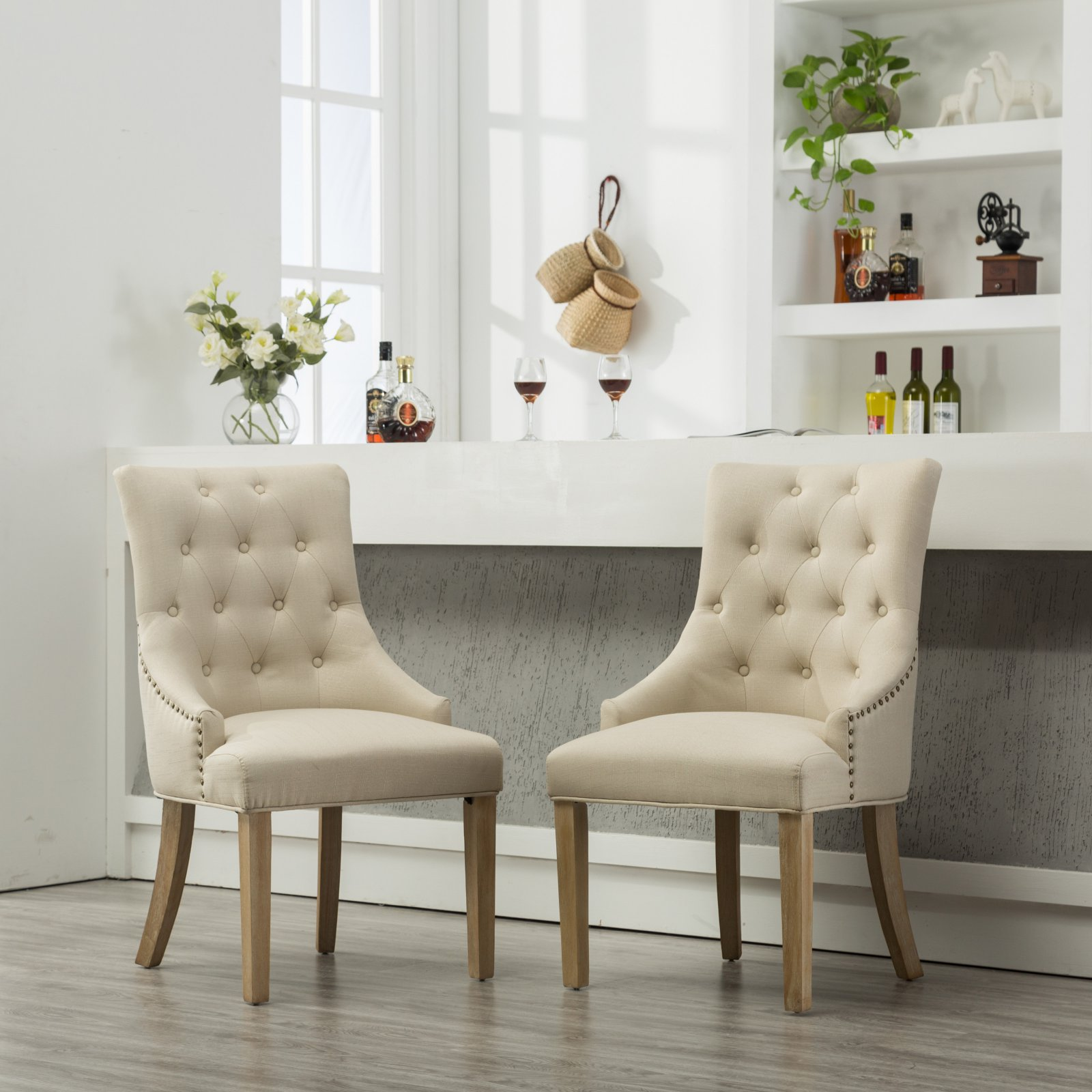 Roundhill Gray Button Tufted Solid Wood Wingback Hostess Chairs with Nail Heads, Set of 2