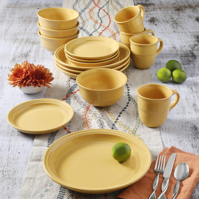 Mainstays Yellow Rainforest 16-Piece Dinnerware Set