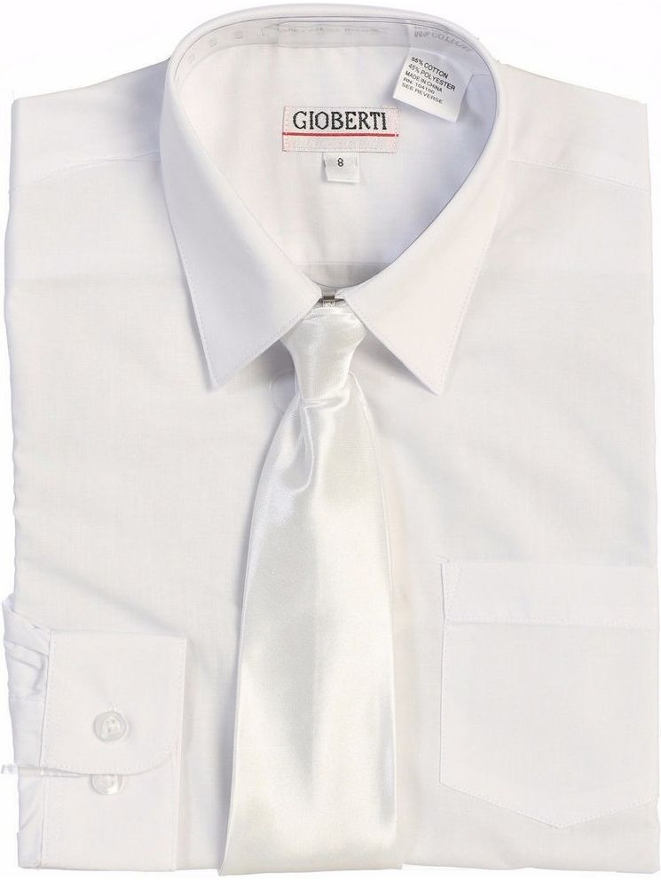 Gioberti Little Boys White Solid Color Shirt Tie Formal 2 Piece Set