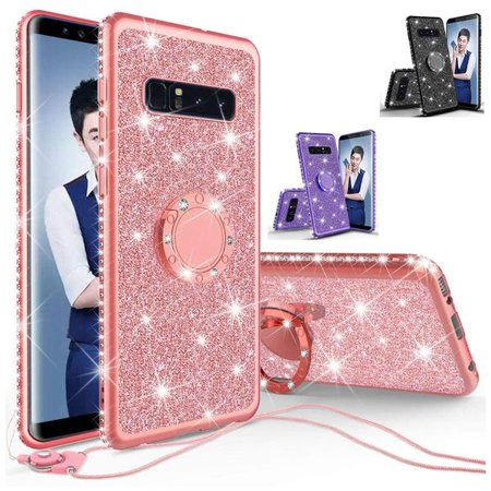 Samsung Galaxy S10 Plus   S10   S10E   S10+   S10 Lite Cases, Ring Finger Style Kickstand Bling Glitter Crystal Rhinestone Phone Case Cover with Lanyard - Purple