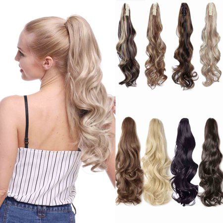 Straight Pony - S-noilite Long Thick Claw Jaw Ponytail Big Wave Straight Clip in Pony Tail Hair Extension Extensions dark brown,21