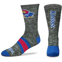 Kansas Jayhawks For Bare Feet Quad Crew Socks - L