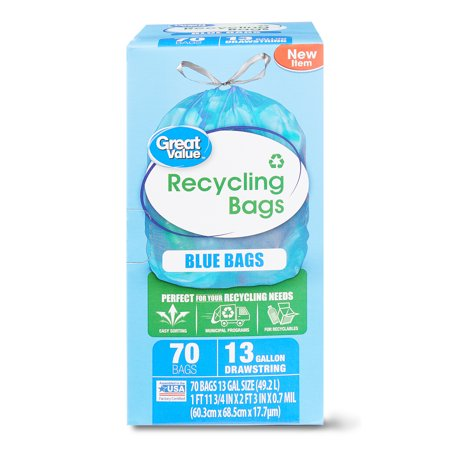 - Great Value Blue Recycling Bags, Blue, 13 Gallon, 70 Count