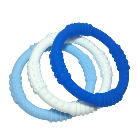 Baby Teething Ring 3 Pack - mooi baby - 100% Silicone Infant Baby Teether Toy