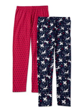 p.s.09 from aeropostale Girls' Unicorn and Dot Leggings, 2-Pack