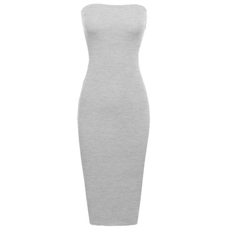 FashionOutfit Women's Sexy Comfortable Tube Top Body-Con Midi Dress in Various (Best Type Of Dress For My Body Shape)