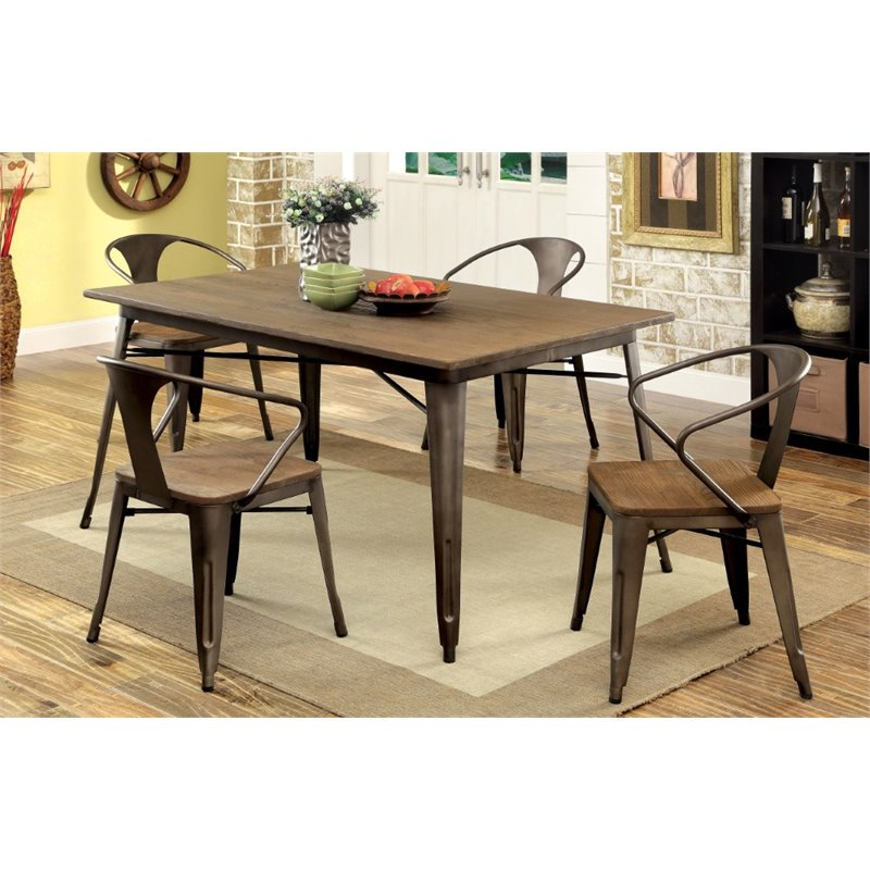 Furniture of America Mayfield 5 Piece Dining Set in Natural Elm
