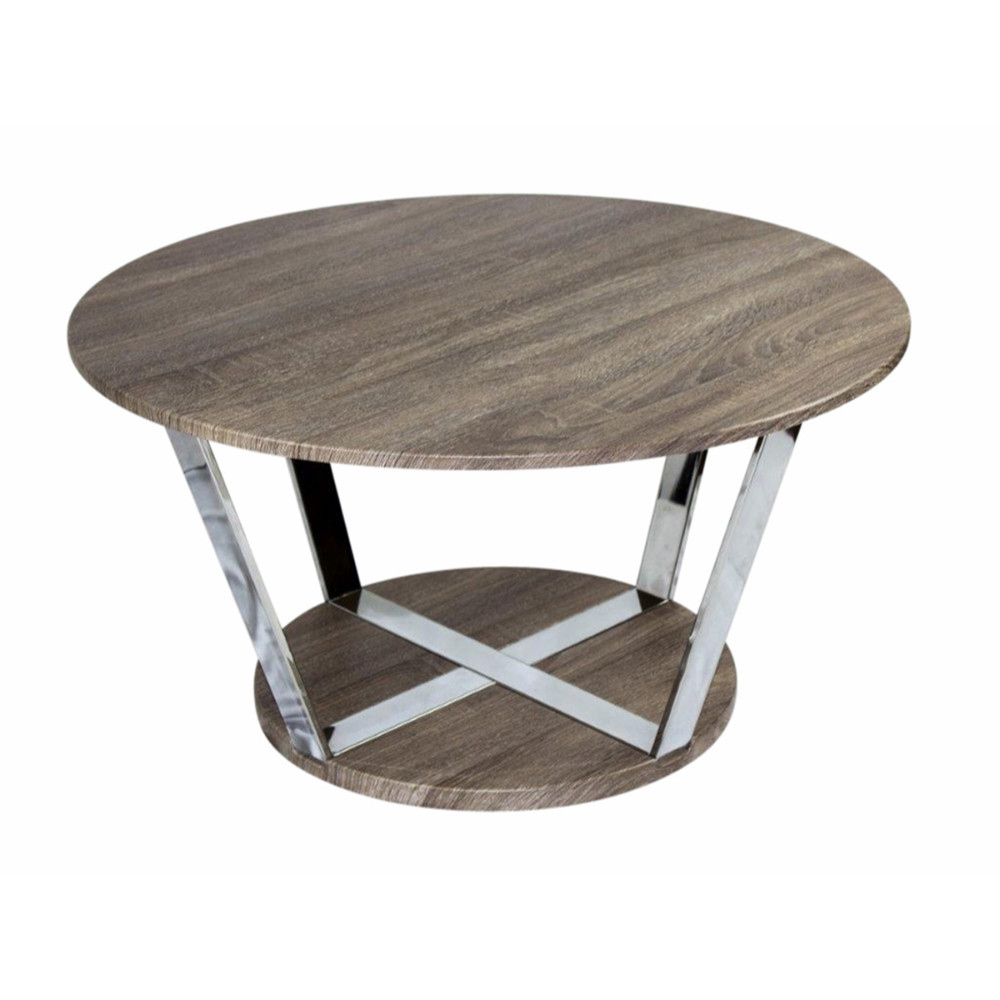 Aesthetic Round Metal Cocktail Table, Brown And Silver by Benzara