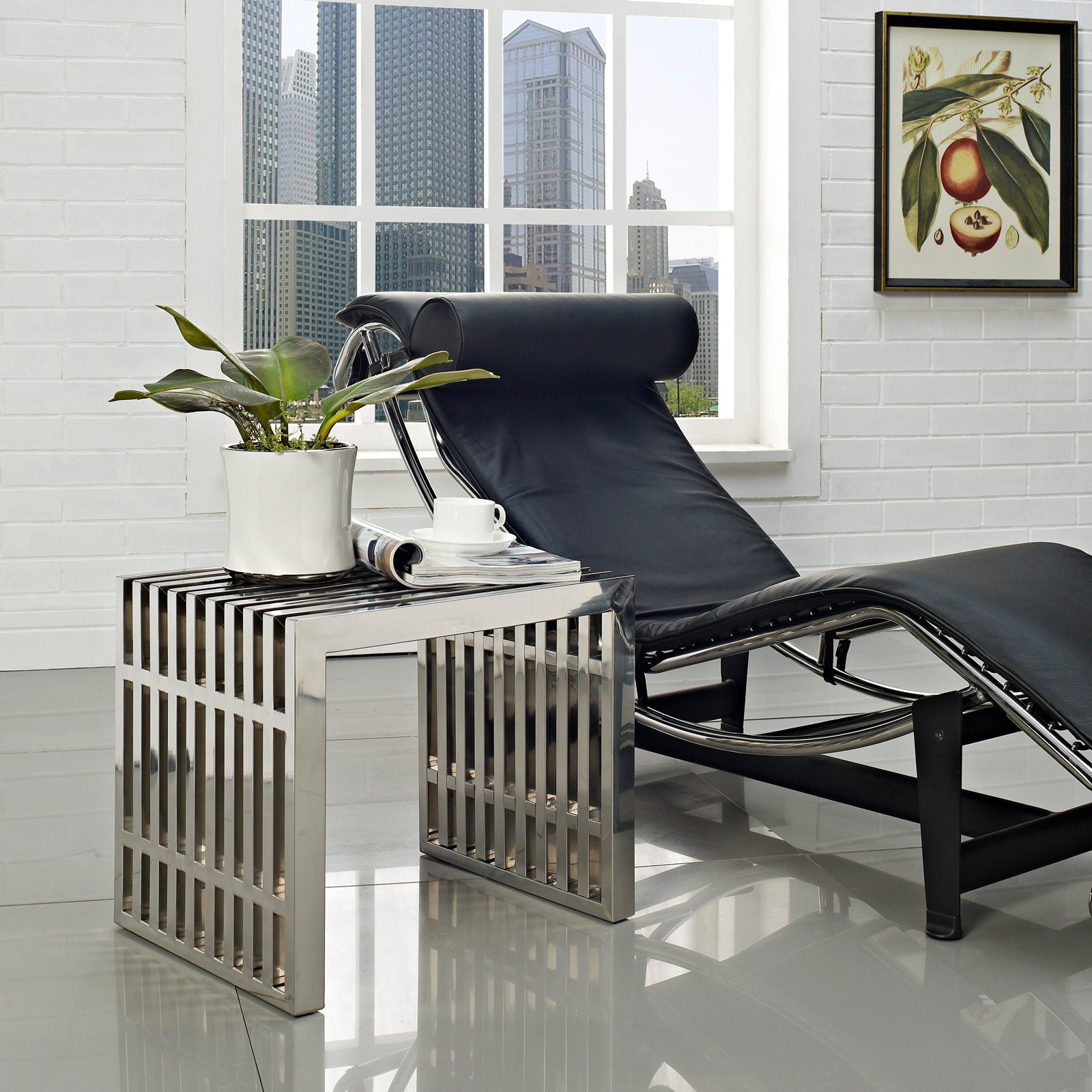 Modway Gridiron Small Stainless Steel Bench or Side Table in Silver