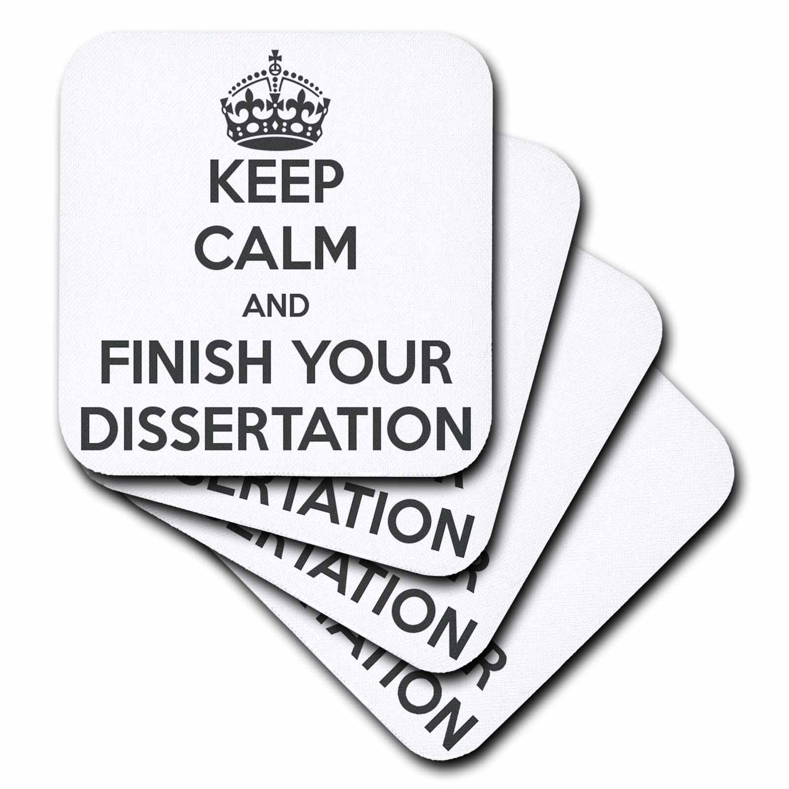 3dRose CST/_193304/_1 Keep Calm /& Finish Your Dissertation White /& Gray Soft Coaster Set of 4