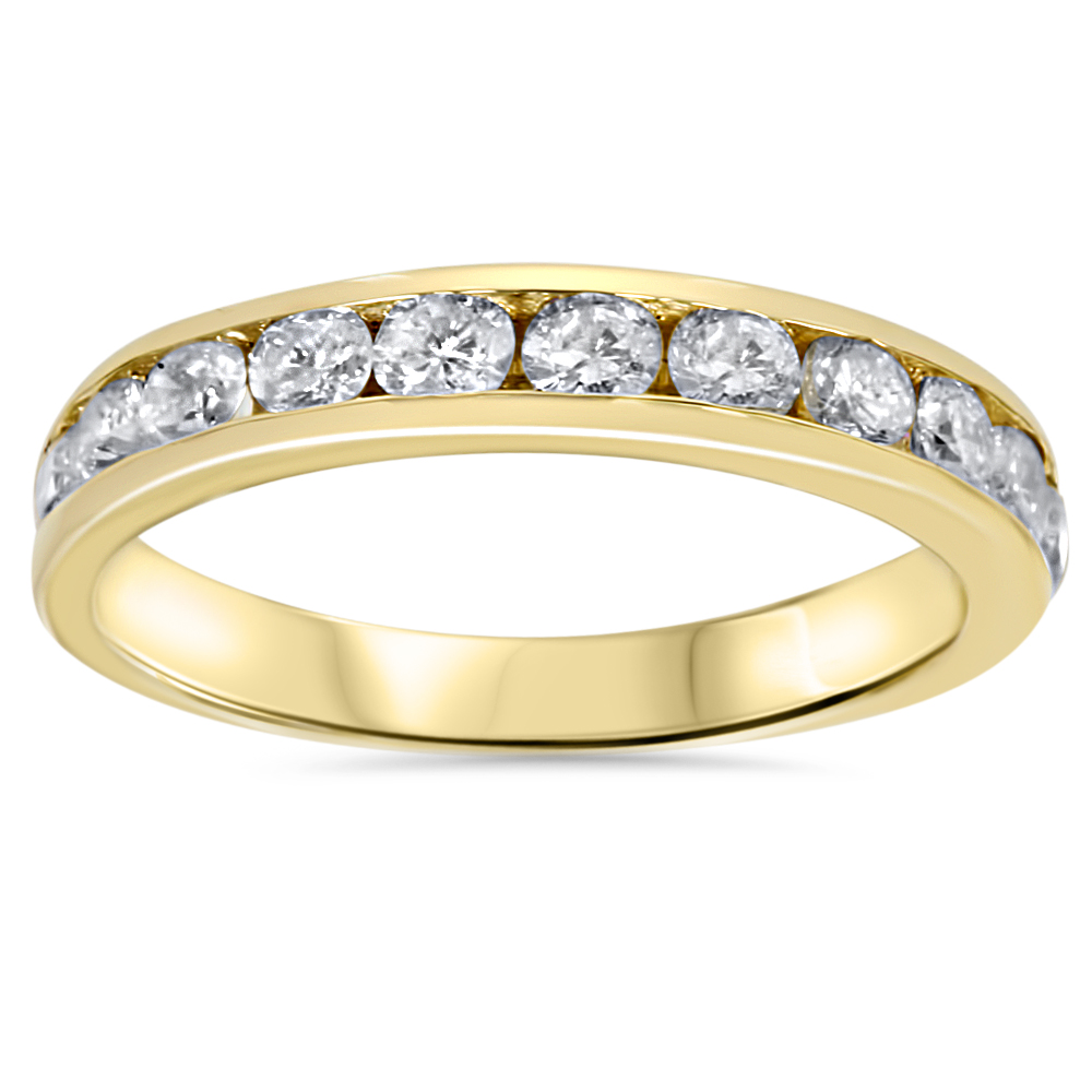 1ct Diamond Wedding Channel Set Ring 14K Yellow Gold Ring Band by Pompeii3