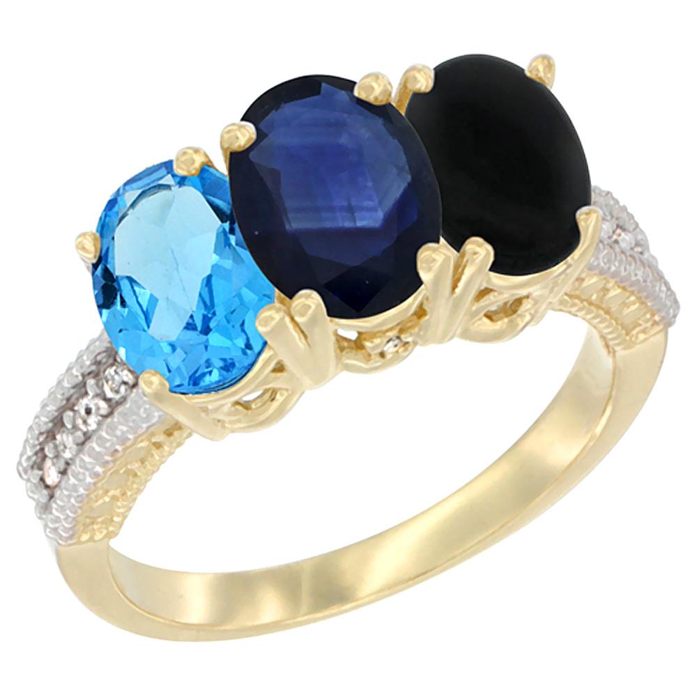 14K Yellow Gold Natural Swiss Blue Topaz, Blue Sapphire & Black Onyx Ring 3-Stone 7x5 mm Oval Diamond Accent, sizes 5 10 by WorldJewels