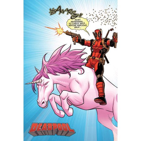 Deadpool - Marvel Comics Poster / Print (Deadpool Riding Unicorn) (Size: 24