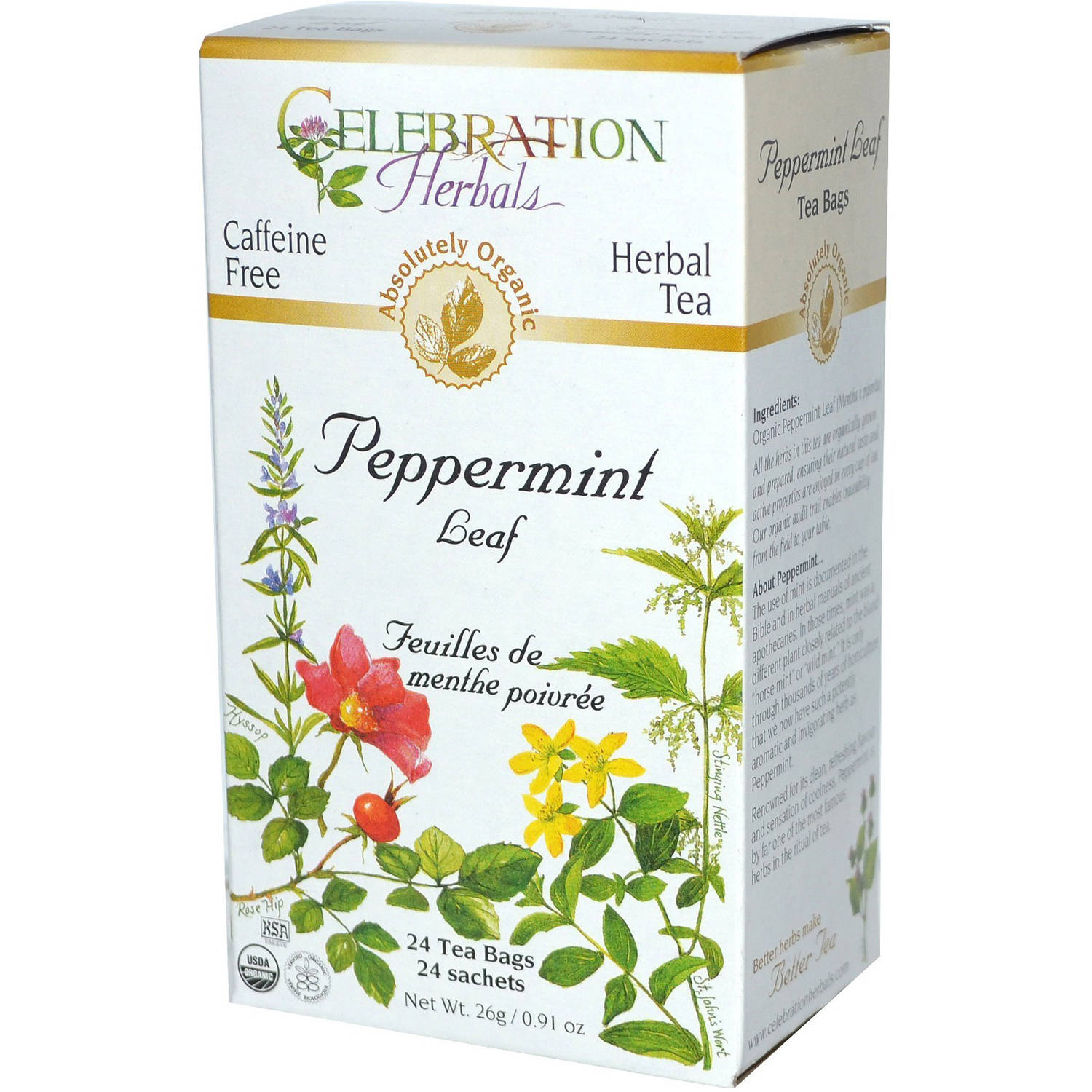 Generic Celebration Herbals Peppermint Leaf Herbal Tea Bags, 24 count, (Pack of 3)