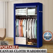 Portable Closet Wardrobe Clothes Rack Storage Organizer With Shelf Navy Blue