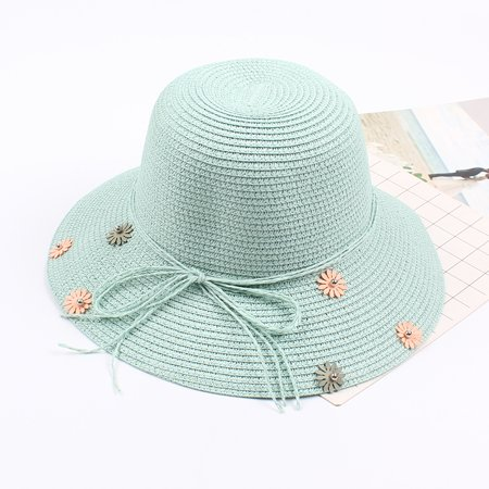 Women Straw Hat Flower Beading Bow Foldable Sweet Elegant Sun Summer Holiday Beach Vacation Cap