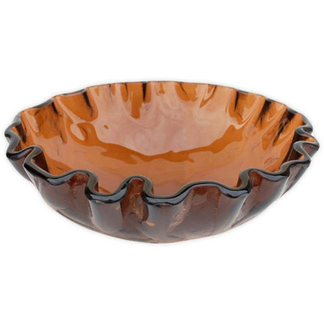 EB_GS10 Cola Brown Freeform Wave Glass Vessel Sink