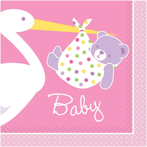 Stork Baby Girl Pink Beverage Napkins (16 ct)