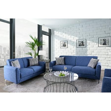 Furniture of America Calla Contemporary Blue Linen Sofa, Chair and Love  Seat Set