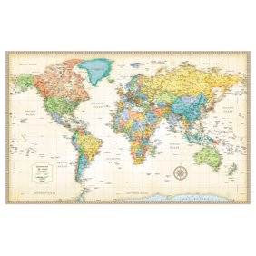 Crystal art 3 piece world map wrapped canvas wall art decor set 19 x rand mcnally classic world map giant poster 50x32 gumiabroncs Image collections