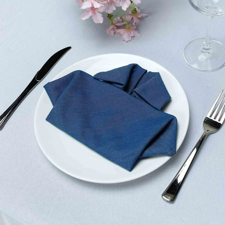 BalsaCircle 5 pcs 17x17-Inch wide Dark Blue Faux Denim Polyester Napkins - Wedding Events Table Top Dinner Decorations Supplies Sale