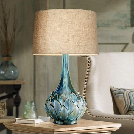 - Possini Euro Design Modern Table Lamp Ceramic Blue Petals Vase Handmade Beige Linen Drum Shade for Living Room Family Bedroom