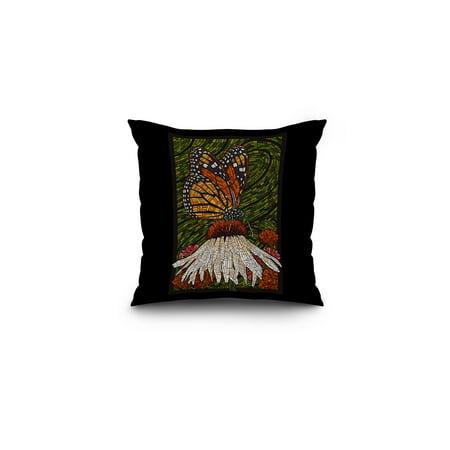 Green Lantern Mosaic (Monarch Butterfly - Paper Mosaic - Green Background - Lantern Press Poster (16x16 Spun Polyester Pillow, Black)