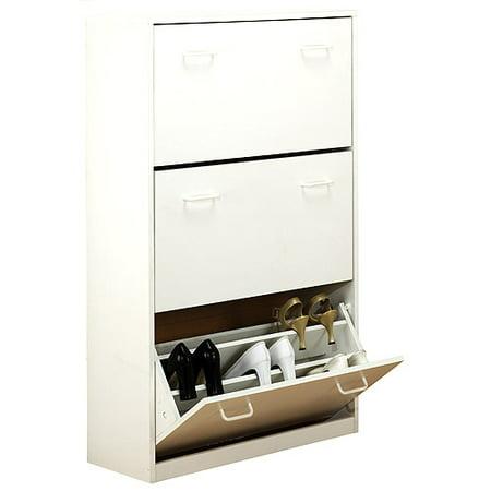 shoe cabinet triple white. Black Bedroom Furniture Sets. Home Design Ideas