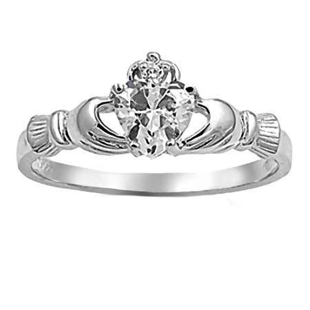 Alaina: 0.765ct Heart cut Russian Ice on Fire CZ Claddagh Ring 925 Silver sz 6.5