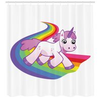 Cartoon Decor Shower Curtain Set, Baby Unicorn Runs On The Rainbow Mythological Fantasy Legendary Creature With The Horn, Bathroom Accessories, 69W X 70L Inches, By Ambesonne