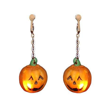 Halloween Blinking Pumpkin Clip On Earrings - Halloween Earrings Ideas