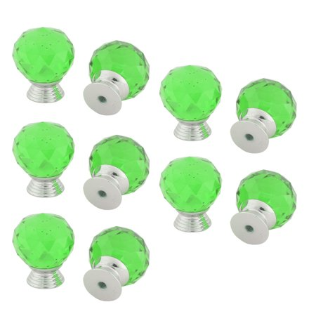 Uxcell Crystal Glass Ball Shaped Wardrobe Bookcase Drawer Pull Handle Knob Green 10pcs ()