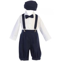 Lito Baby Boys Navy Suspender Knickers Hat Shirt Bow 5 Pc Set