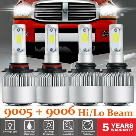 GTP 9005 9006 LED Headlight Bulb Kit For Chevy Silverado GMC Sierra 1500 2500 2000-2006 Hi-Lo BEAM Combo 6000K White  5 Year Warranty Super White 9006 Headlight Bulbs