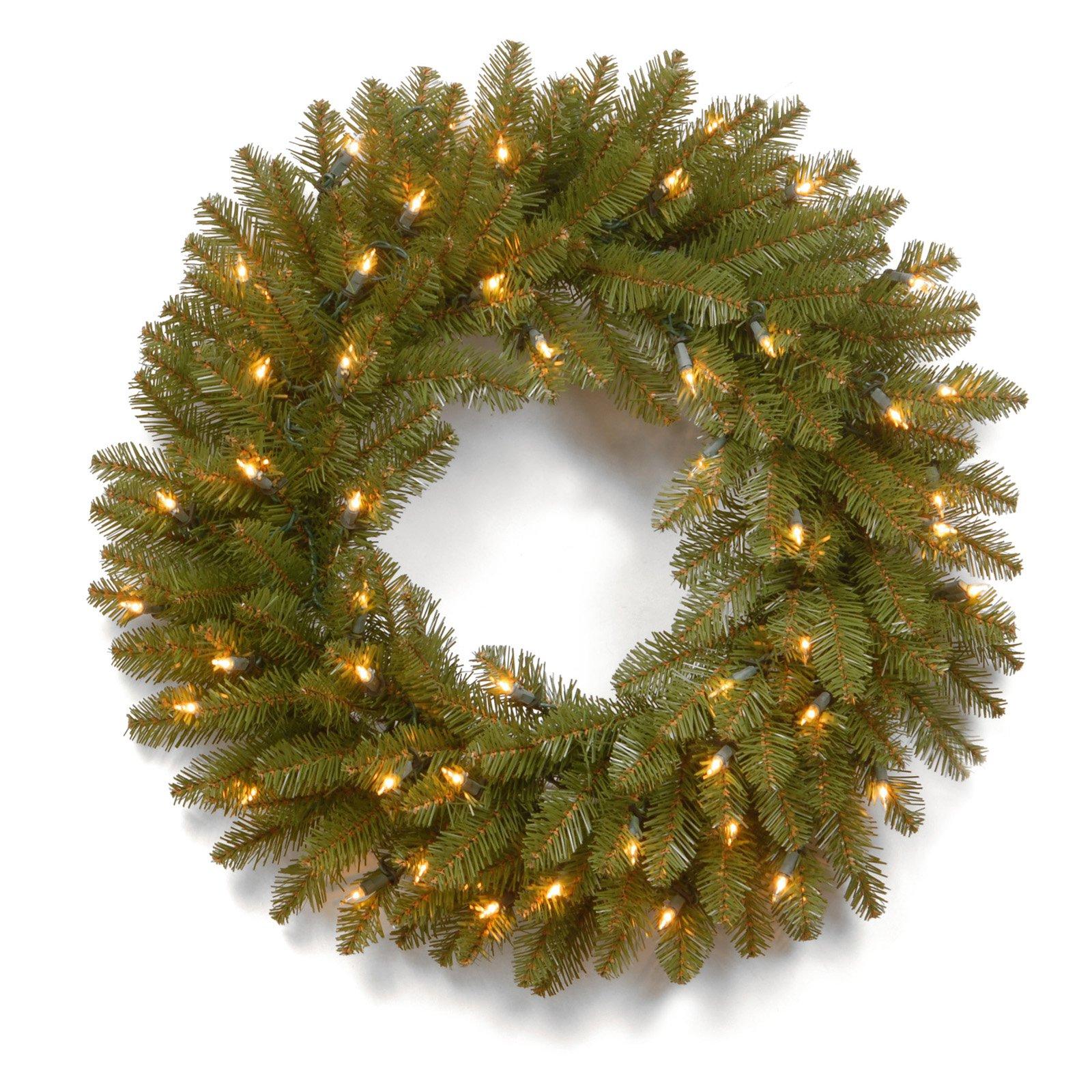 24 in. Dunhill Fir Pre-Lit Christmas Wreath