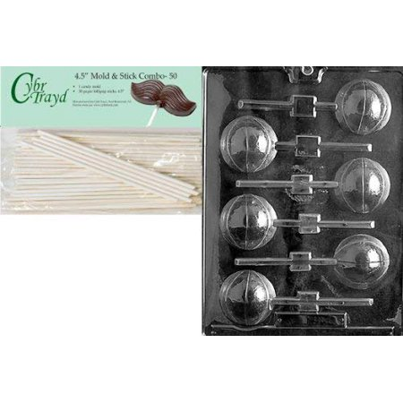 Cybrtrayd 45St50-S027 Basketball Lolly 3D Sports Chocolate Candy Mold with 50-Pack 4.5-Inch Lollipop Sticks